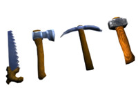 4 in 1 tools: axe, pickaxe, hammer, saw LOWPOLY