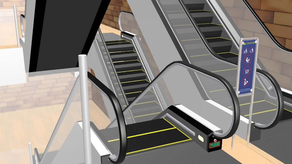 3d model escalator metal