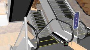 3d model escalator metal
