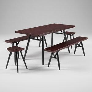 3d artek pirkka bench table model