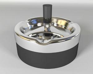 3d metallic ashtray model
