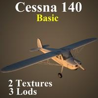 cessna 140 basic aircraft 3d max