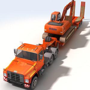 3d model truck loader excavator construction