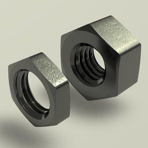 3d hex nut m model