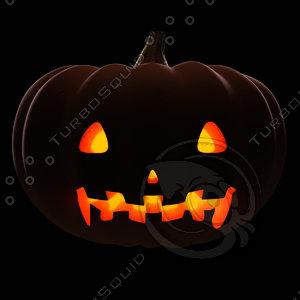 posing halloween pumpkin 2 3d model