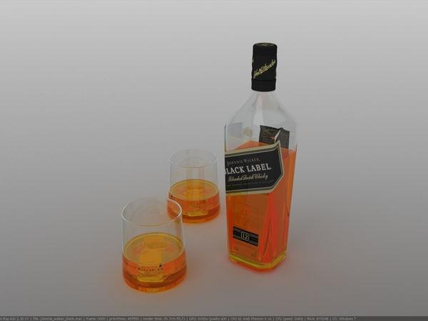 3d bottle johnnie walker black model