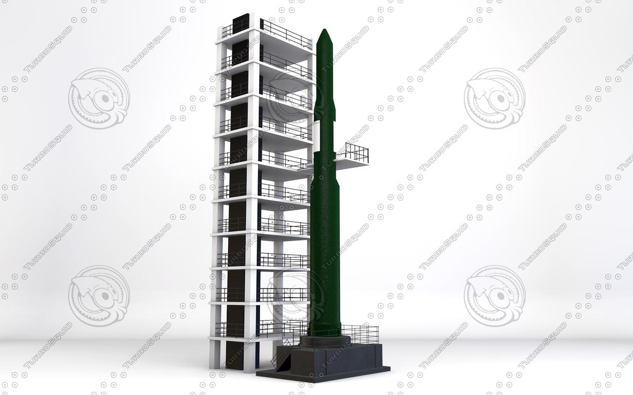 3d korea missile rocket model
