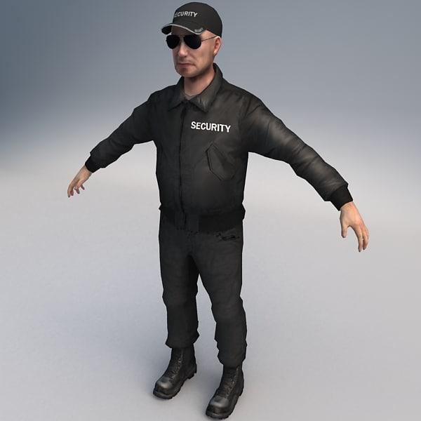 security guard 01 3d max