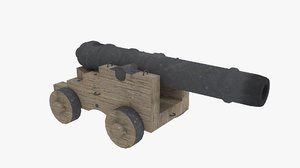 3d model 32 pounder naval cannon