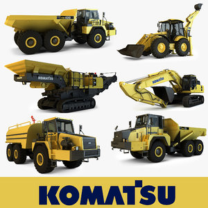 3d model komatsu mining construction vehicles