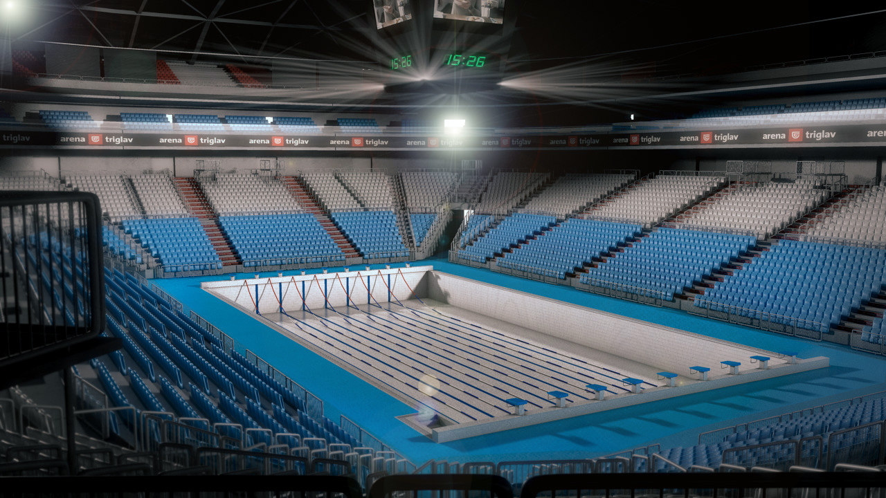 3ds max olympic swimming pool arena