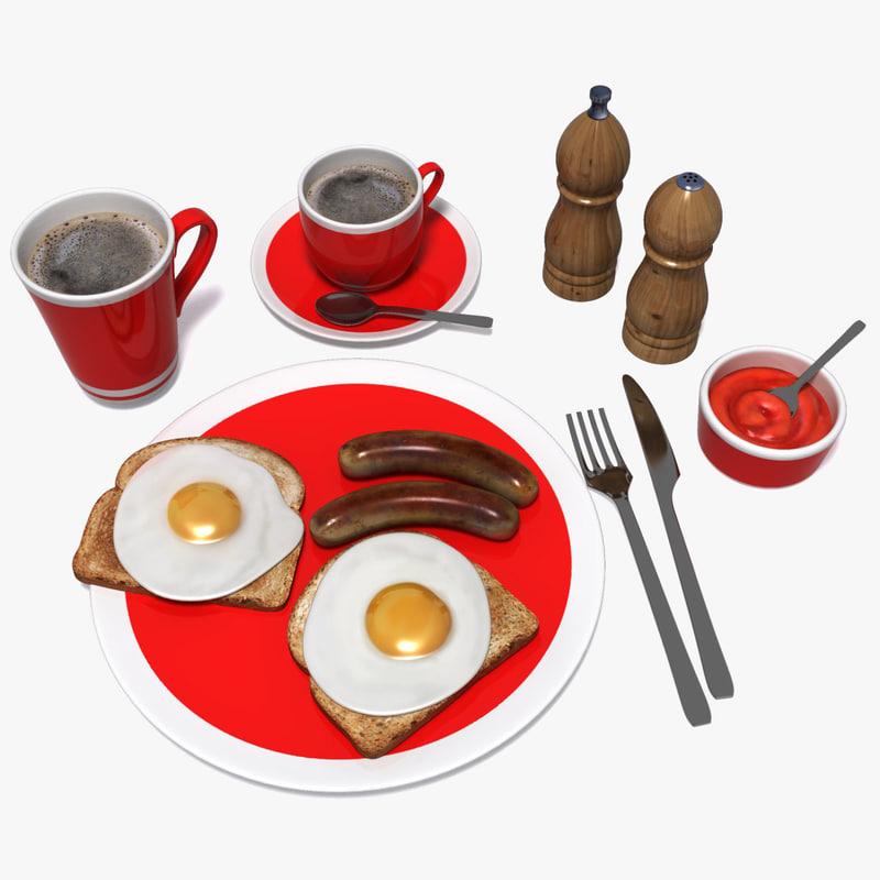 fried breakfast 3d model