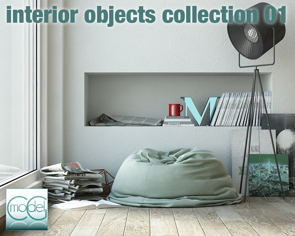 3ds max object interior set