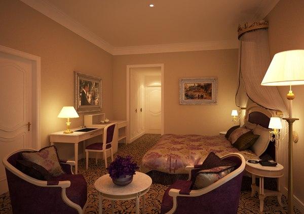 3d classic bed room