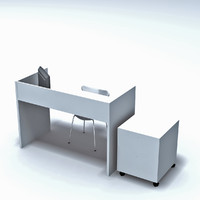 3d teenager desk office table