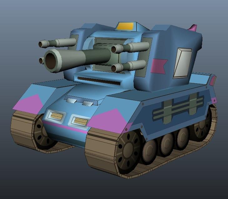 3d model cartoon style tank