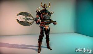 warrior viking war 3d fbx