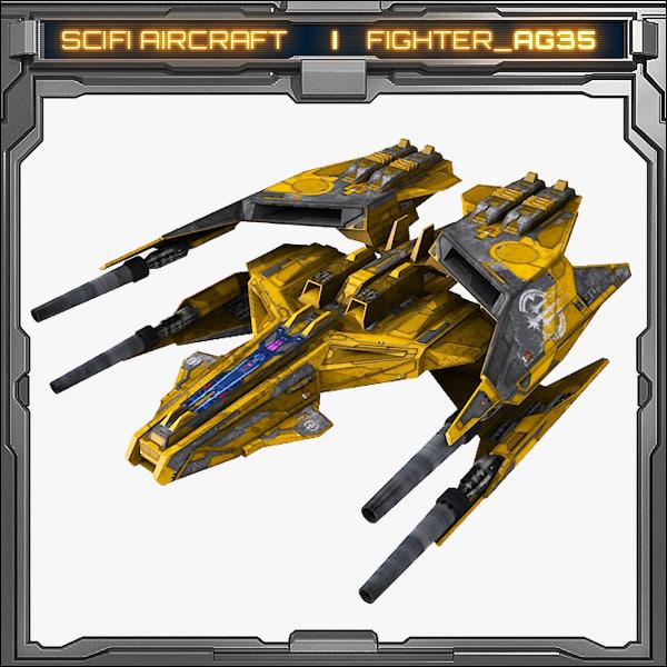 3d scifi fighter ag35 model