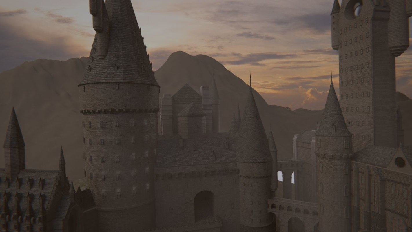 main tower quad hogwarts 3d model