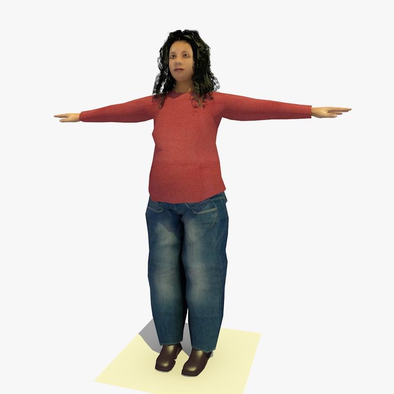 3d realistically african female body model