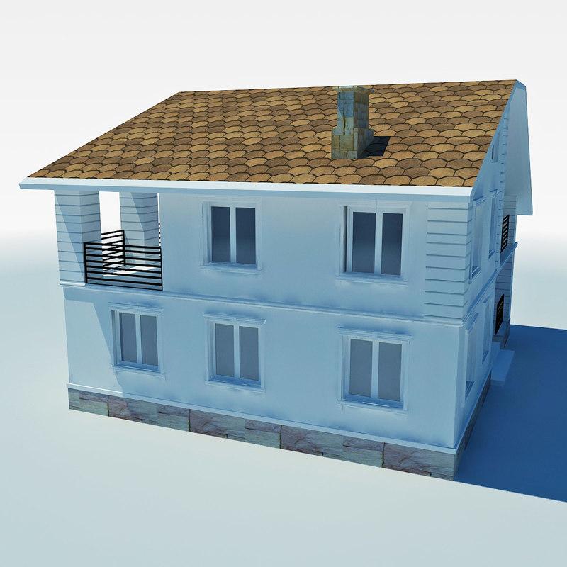low-poly cottage 3d model