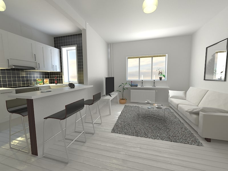 Living kitchen room 3d max for Kitchen room model