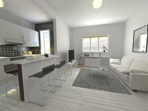 living kitchen room 3d max