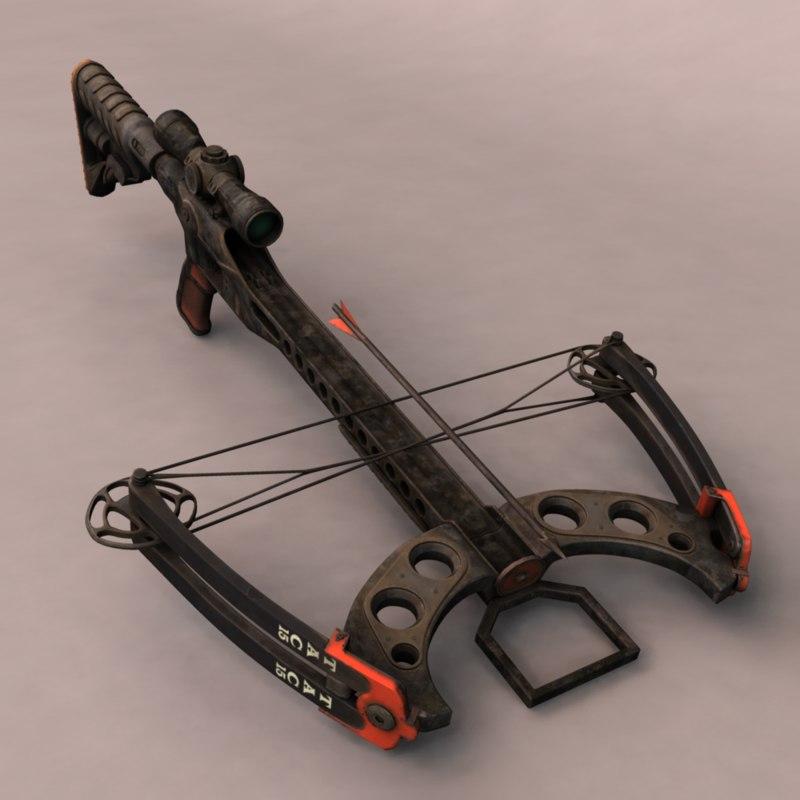 3d model crossbow bow