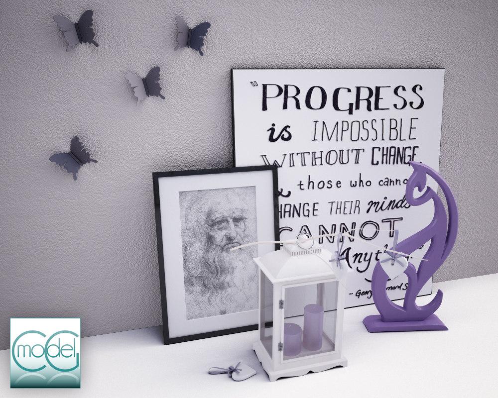 object interior butterflies 3d 3ds