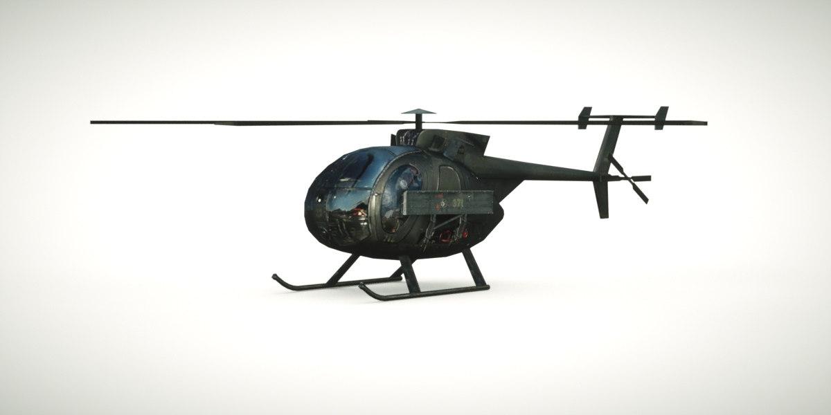 3d model of ah-6 little bird helicopter
