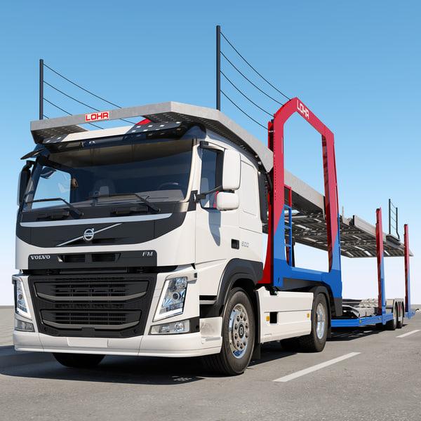 3d fm trailer truck cars model