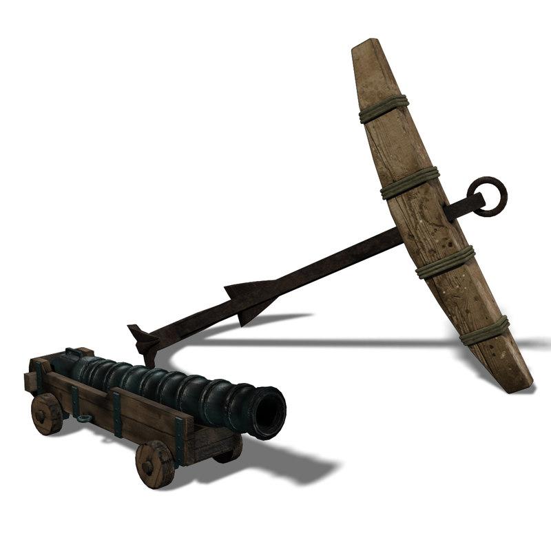 elements ship cannon 3d model