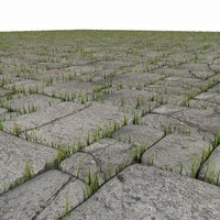 3d block grass stones model