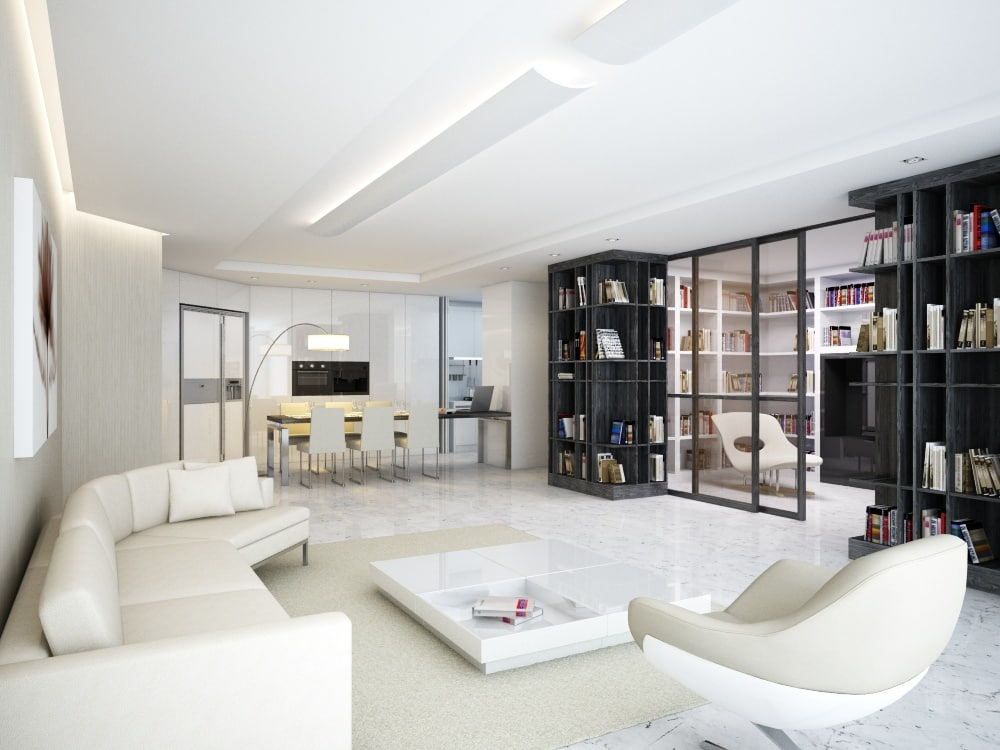 3d model white modern living room