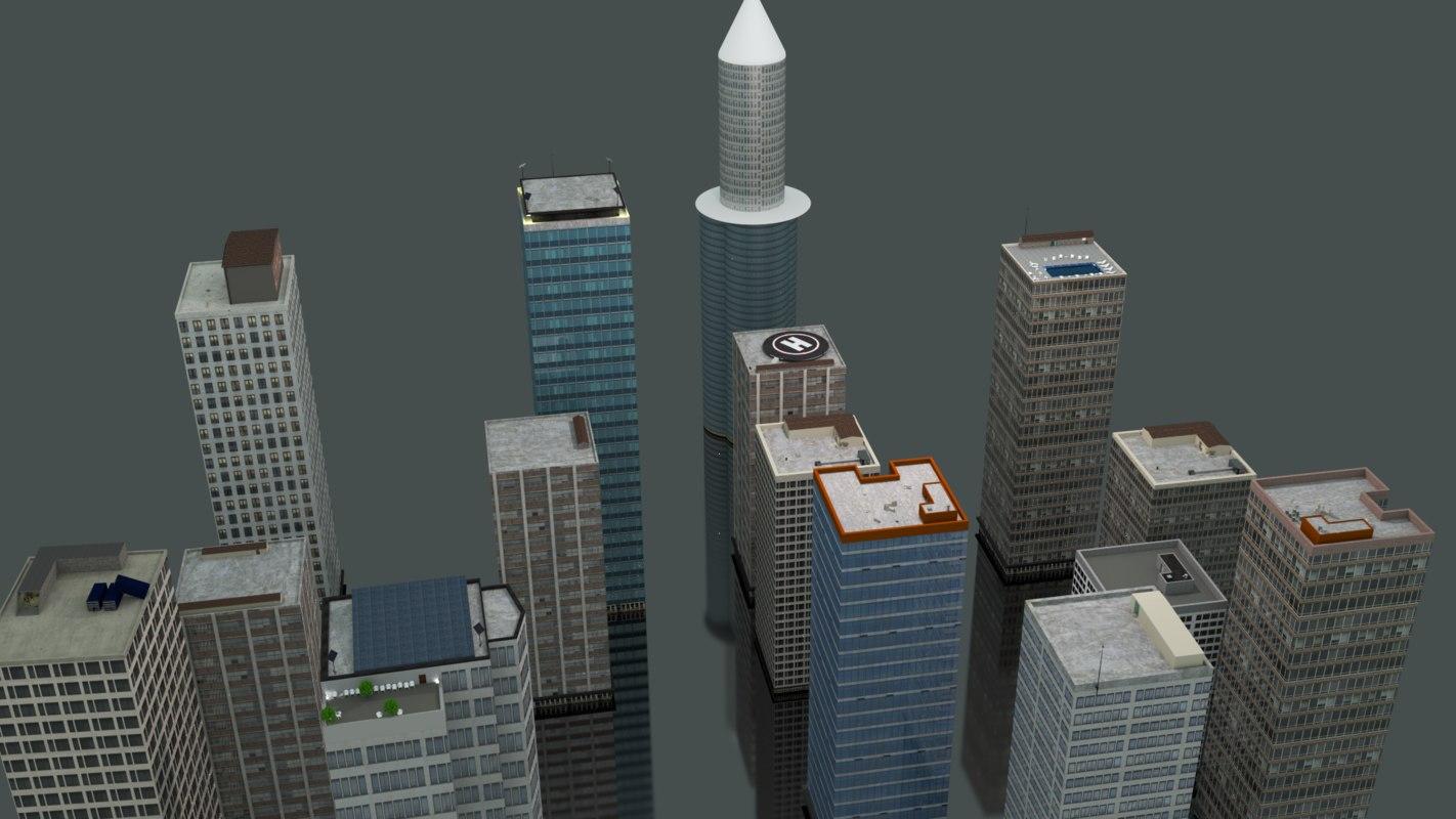 15 city buildings 3d blend