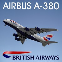 airbus a380 british airways 3d max