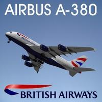 airbus a380 british airways 3d max