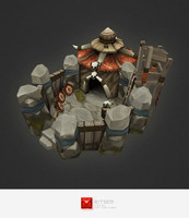 3d hand painted orc barracks model