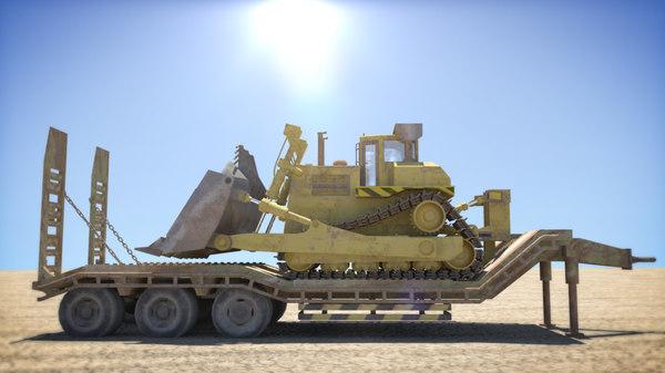 trailer bulldozer 3d obj