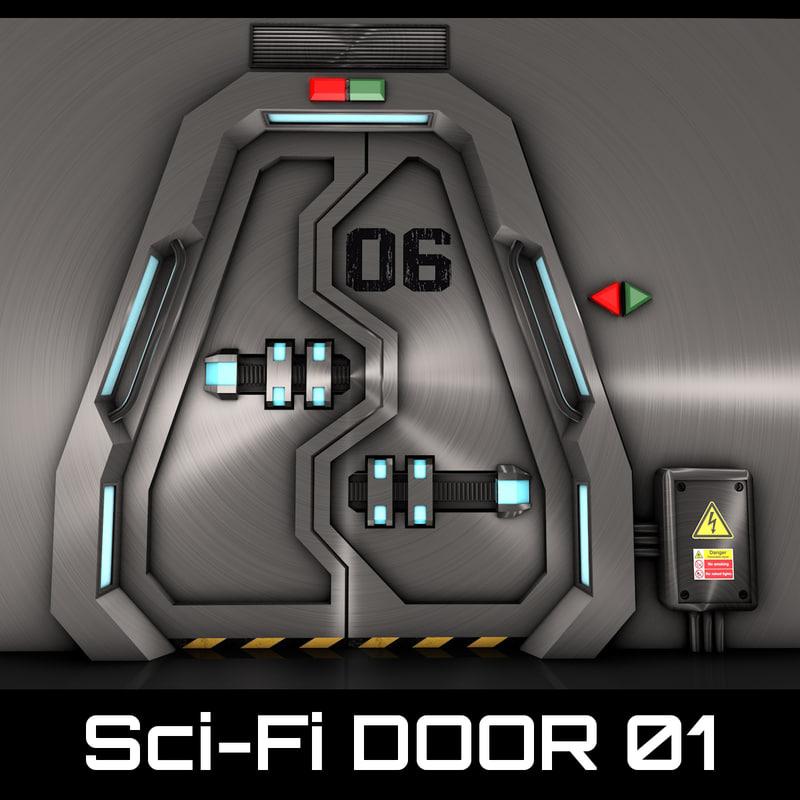 3d model technological door
