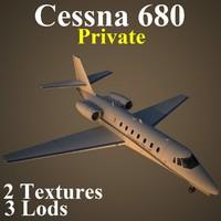 cessna 680 pvt aircraft 3d max