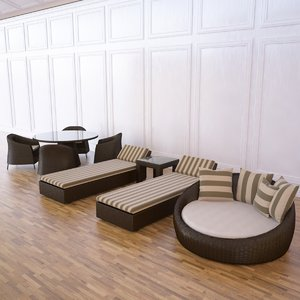 wicker outdoor furniture 3d max