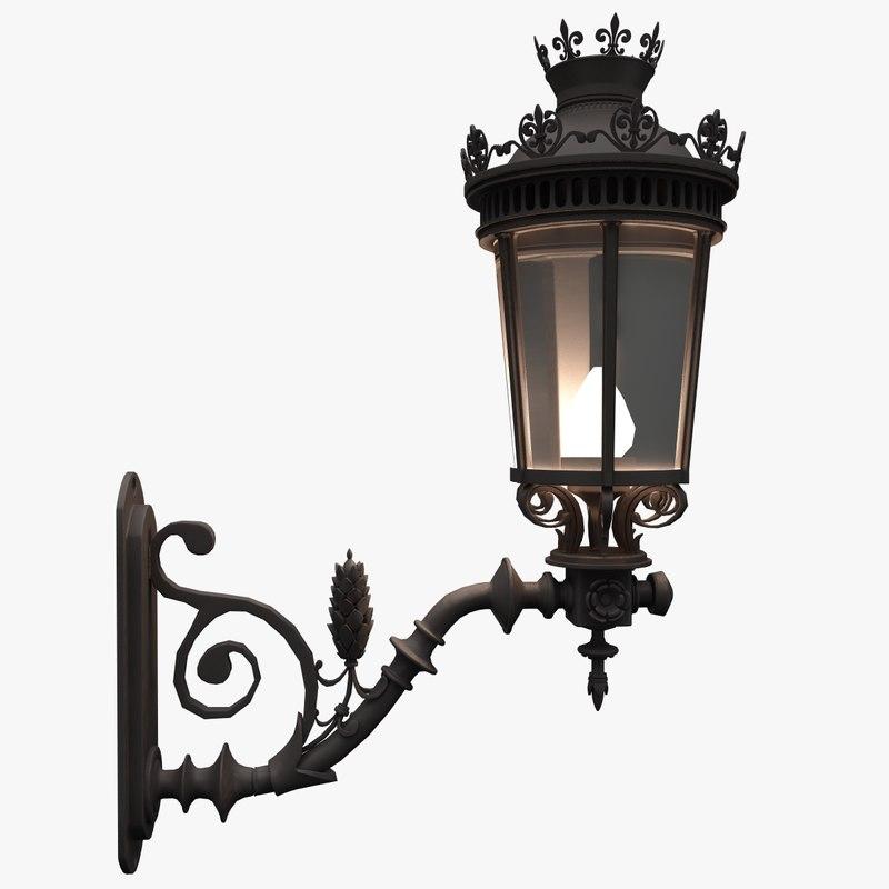 3d old lamppost street model