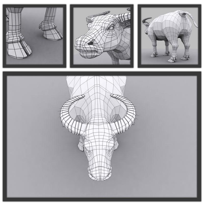 3d model of buffalo modeled topology