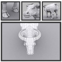 3d model of buffalo modeled topology
