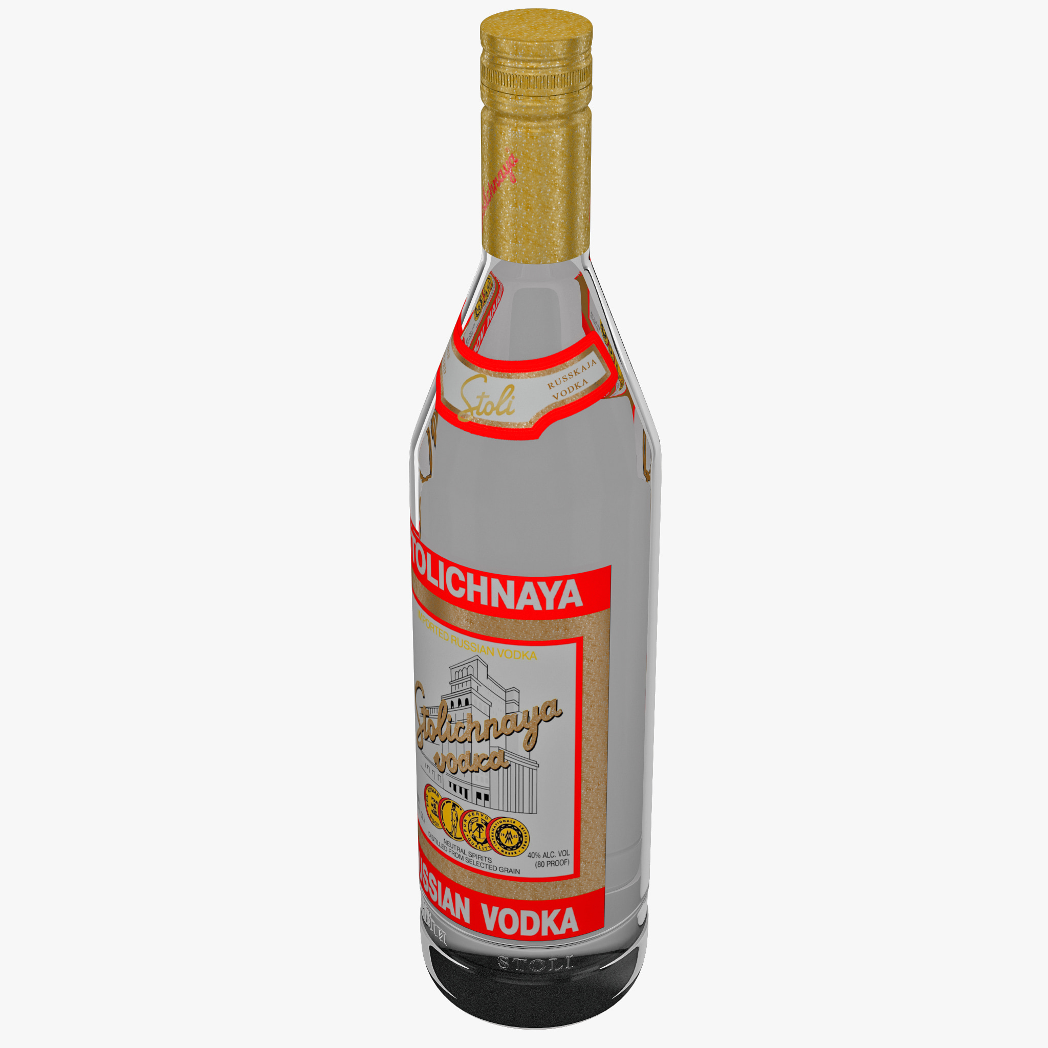 stolichnaya vodka bottle 3d max