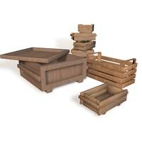 c4d wooden crates