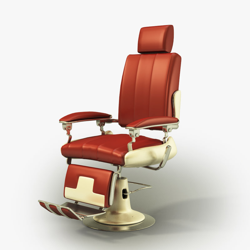 3d model vintage barbers chair