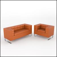 3d contemporary tufted sofa armchair model
