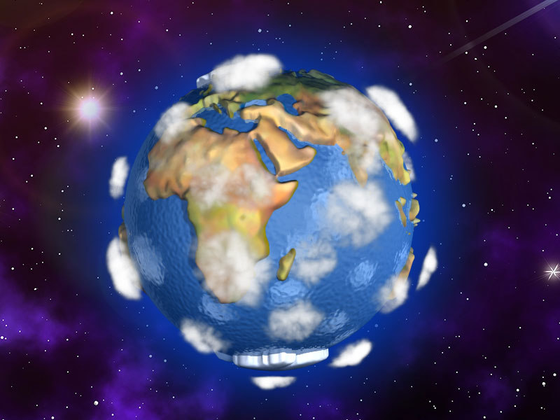 3d cartoon earth space model